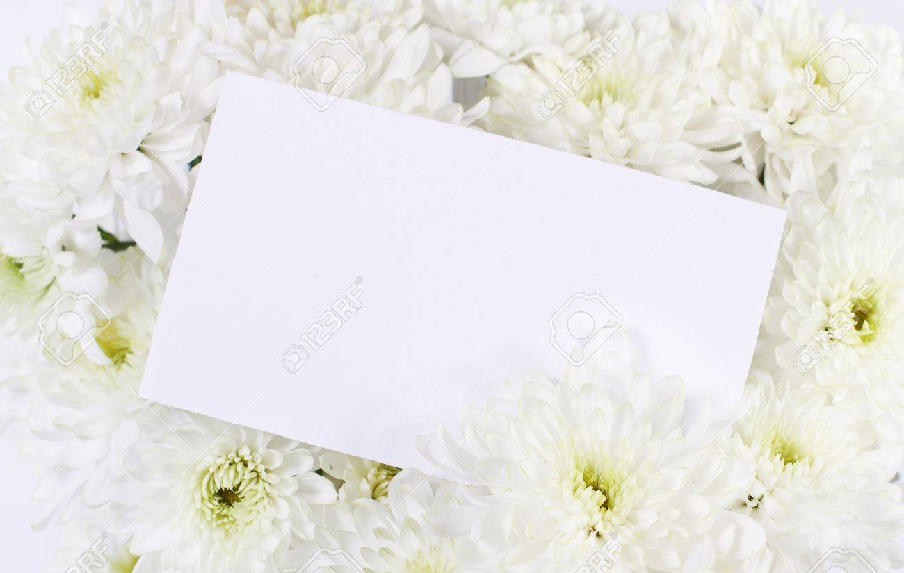 white chrysanthemum flowers bouquet with blank white card. copy, Beautiful flower