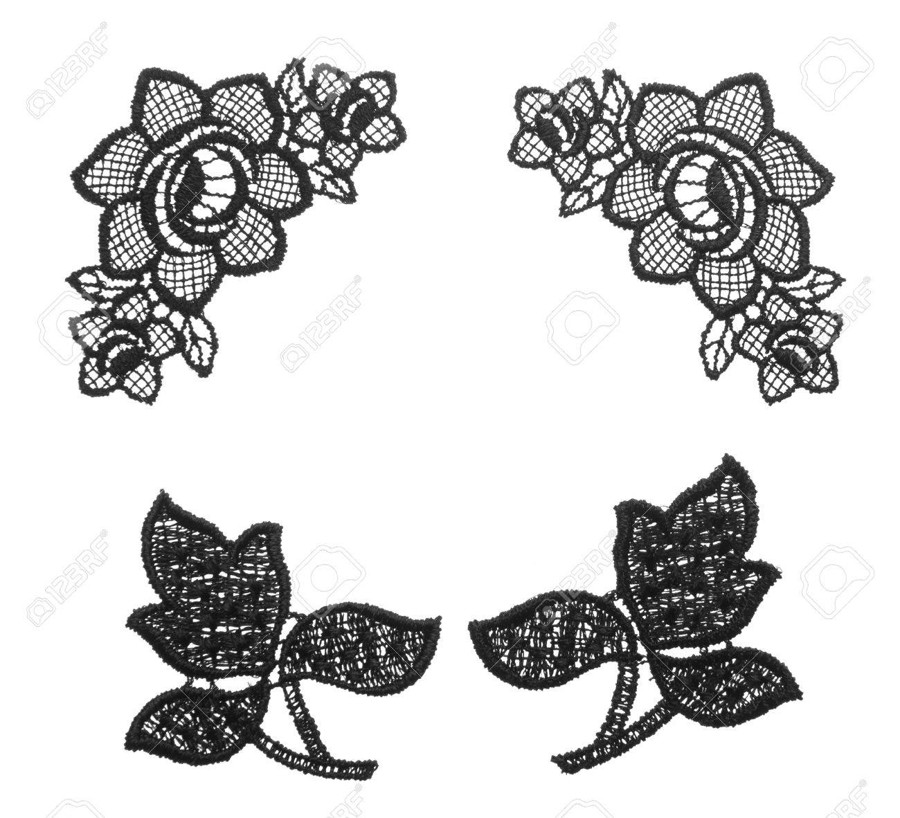 Embroidered lace trim over white. Fabric texture set . Close up Stock Photo - 15545356