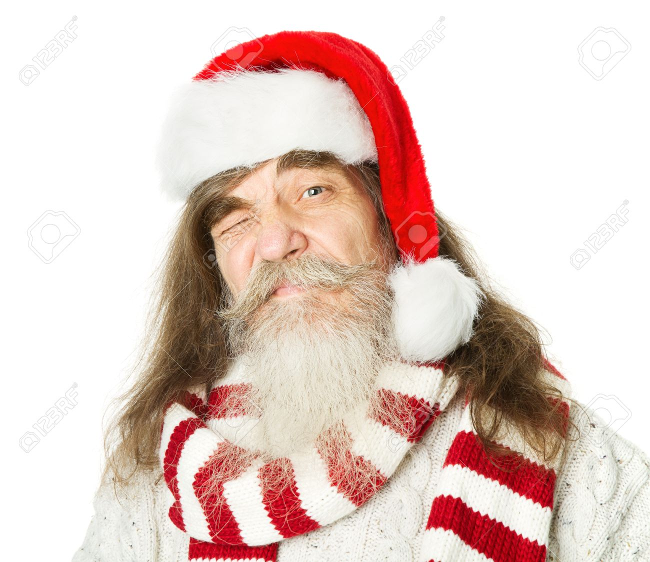 Christmas Parody.Christmas Old Man With Beard In Red Hat Santa Claus Funny Parody