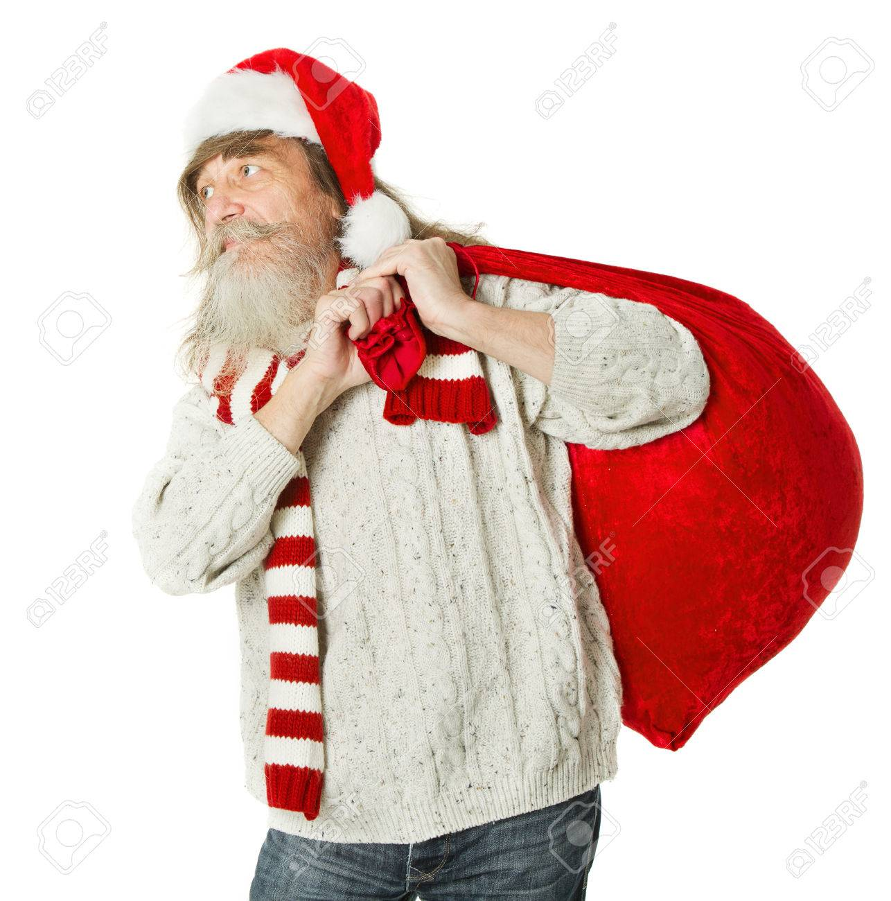 Christmas Old Man With Beard In Red Hat Carrying Santa Claus Stock Photo Picture And Royalty Free Image Image 22427446