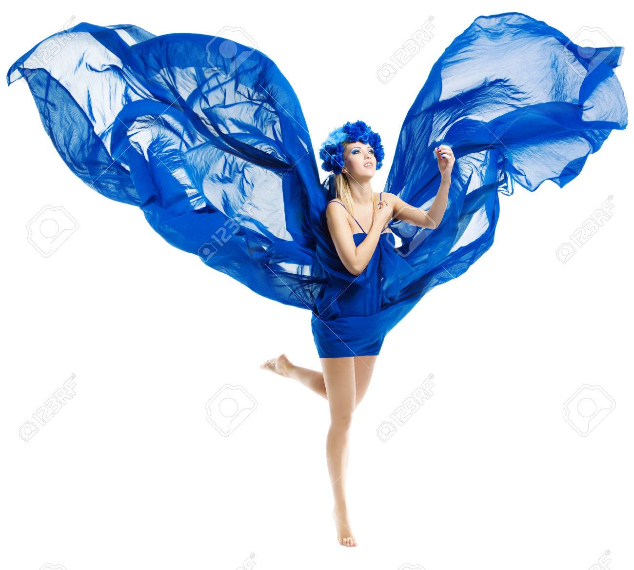 Woman in blue flower crown in chiffon waving fabric flying wings stock photo woman in blue flower crown in chiffon waving fabric flying wings over isolated white izmirmasajfo