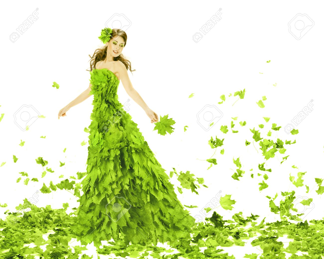 bf5d7c1f76ab Fantasy beauty, fashion woman in seasons spring leaves dress. Creative  beautiful girl in green