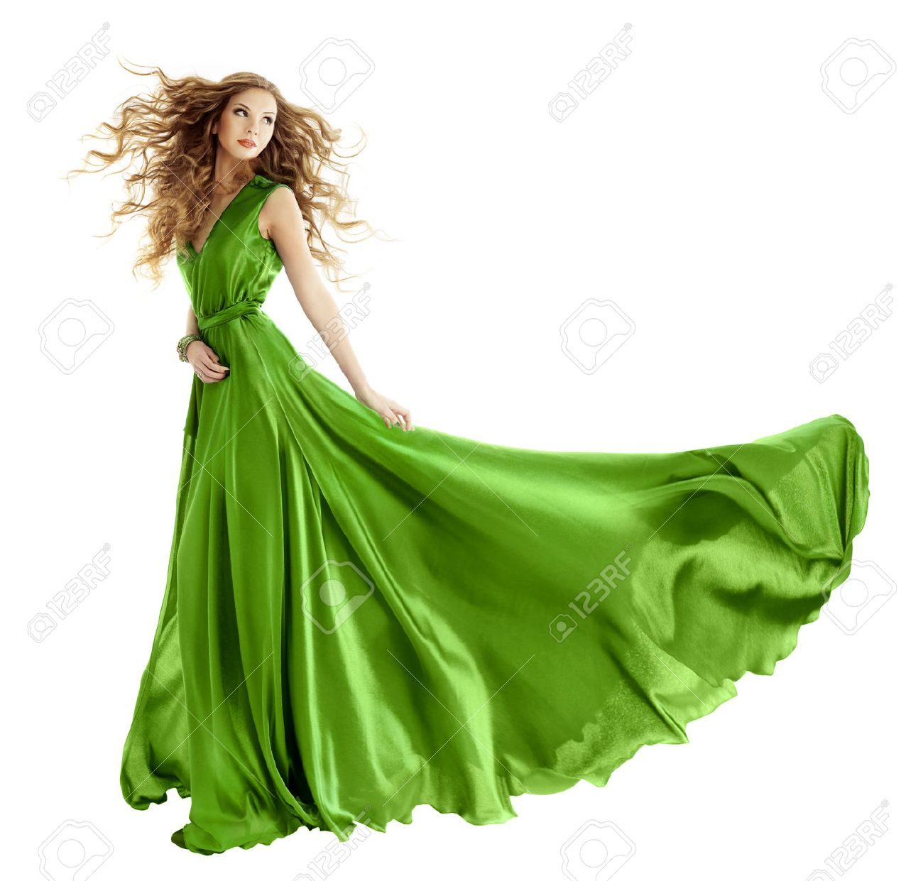 ae09ae886 Woman In Beauty Fashion Green Gown