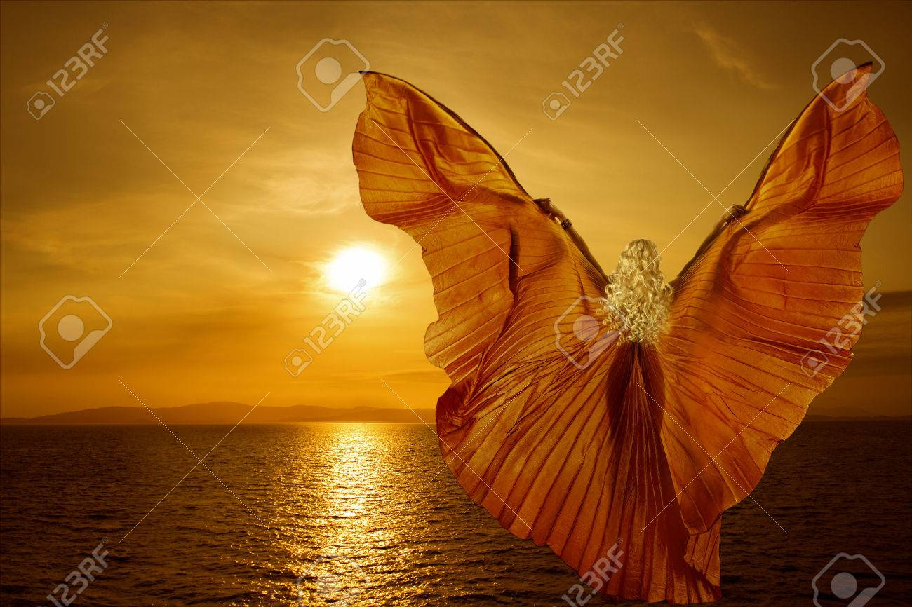 Woman with butterfly wings flying on fantasy sea sunset, relaxation meditation concept - 27905738