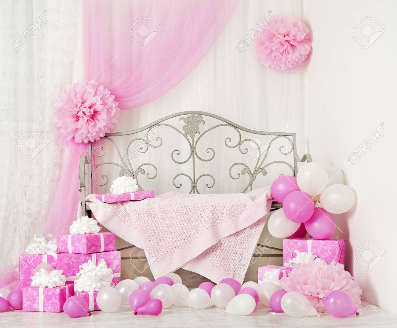 birthday party room background with gift boxes kids celebration