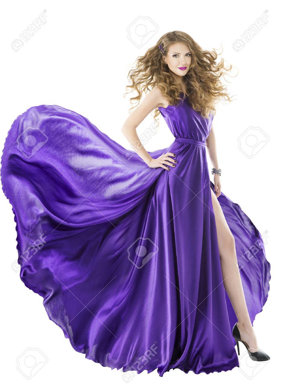 Vestido De Mujer De Seda, Tren Aleteo Largo, Muchacha Púrpura Ropa ...