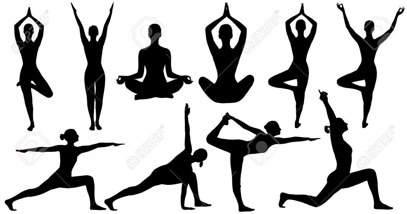Poses De Yoga Femme Silhouette, Isolé, Sur Fond Blanc, Ensemble De ...