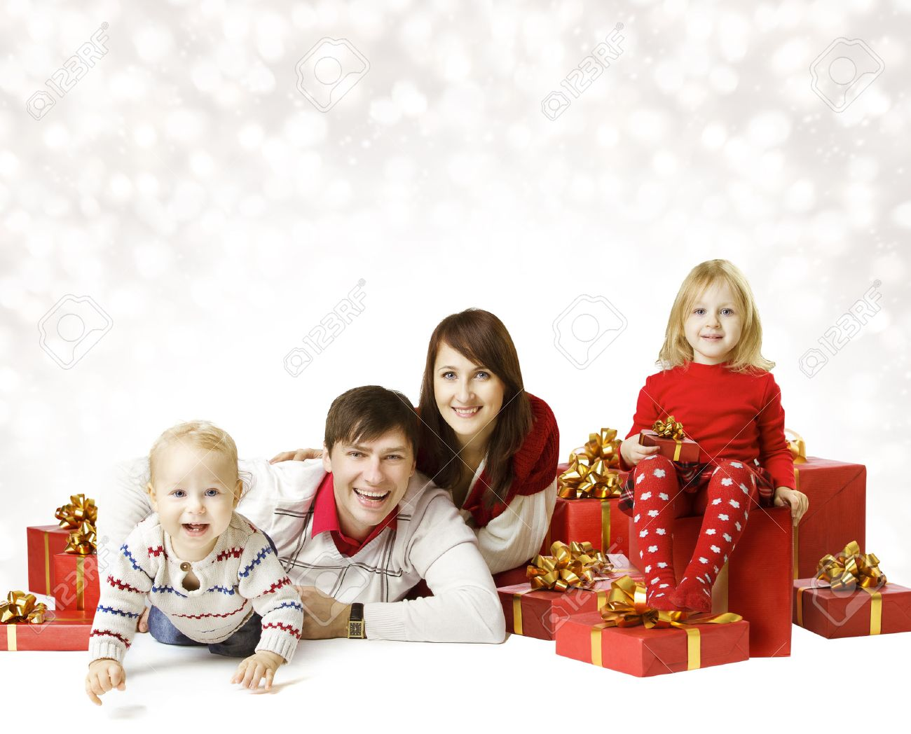 Christmas Family Portraits.Christmas Family Portrait Over White Background Kid And Baby