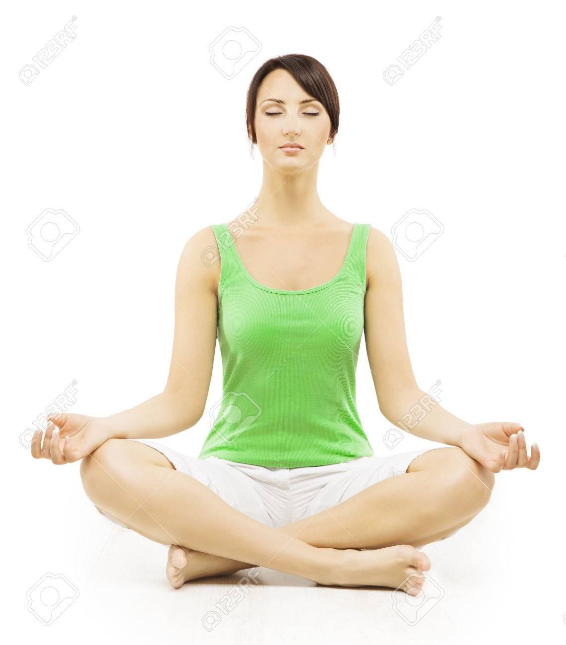 yoga woman in meditation sitting in lotus pose female meditating