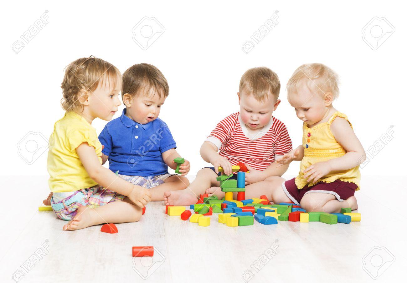 Children Group Playing Toy Blocks. Little Kids Early Development ...