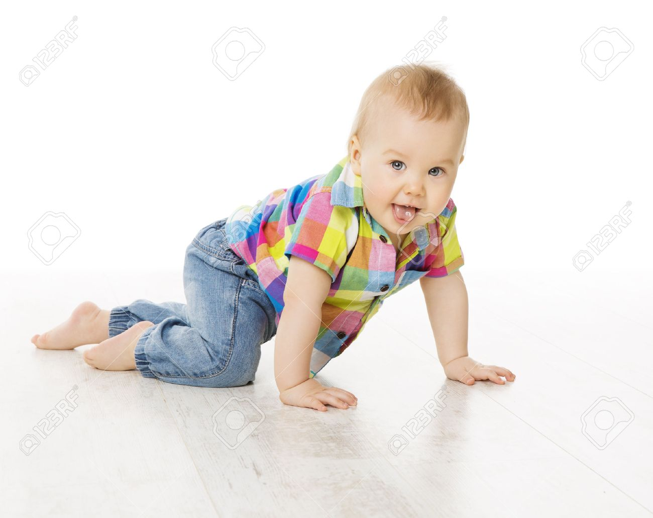 9405f4420d5 Baby Activity, Crawling Little Child Boy Dressed Jeans Color Shirt, Active  Kid Isolated over