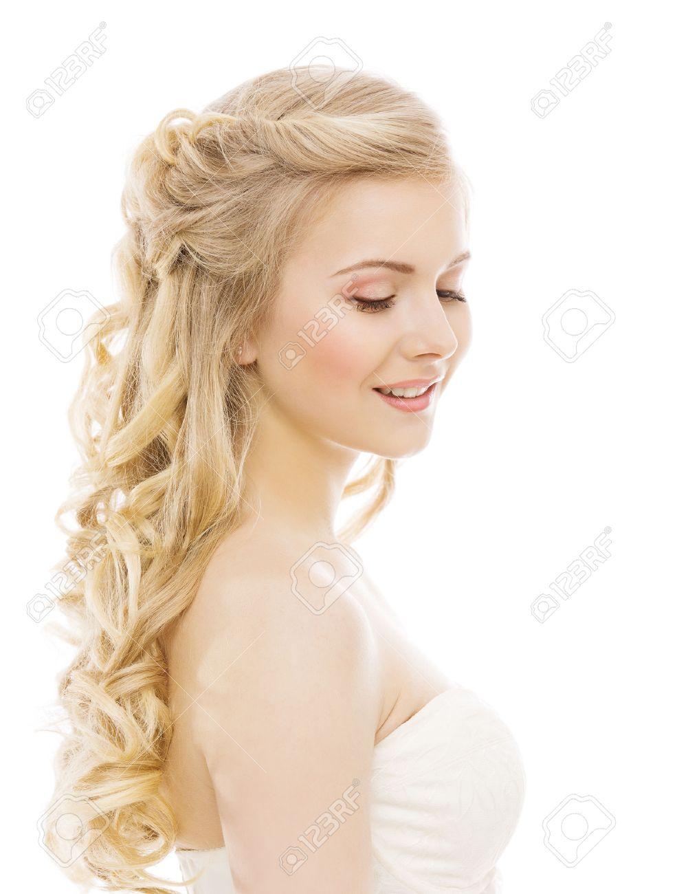 Cheveux Longs Makeup Femme Beauté, Jeune Fille Blonds Frisés ...