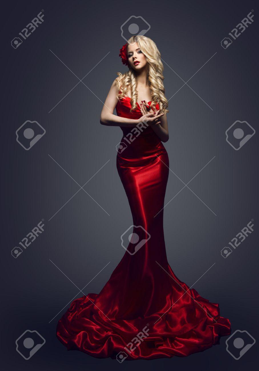 Fashion Model Red Dress, Stylish Woman