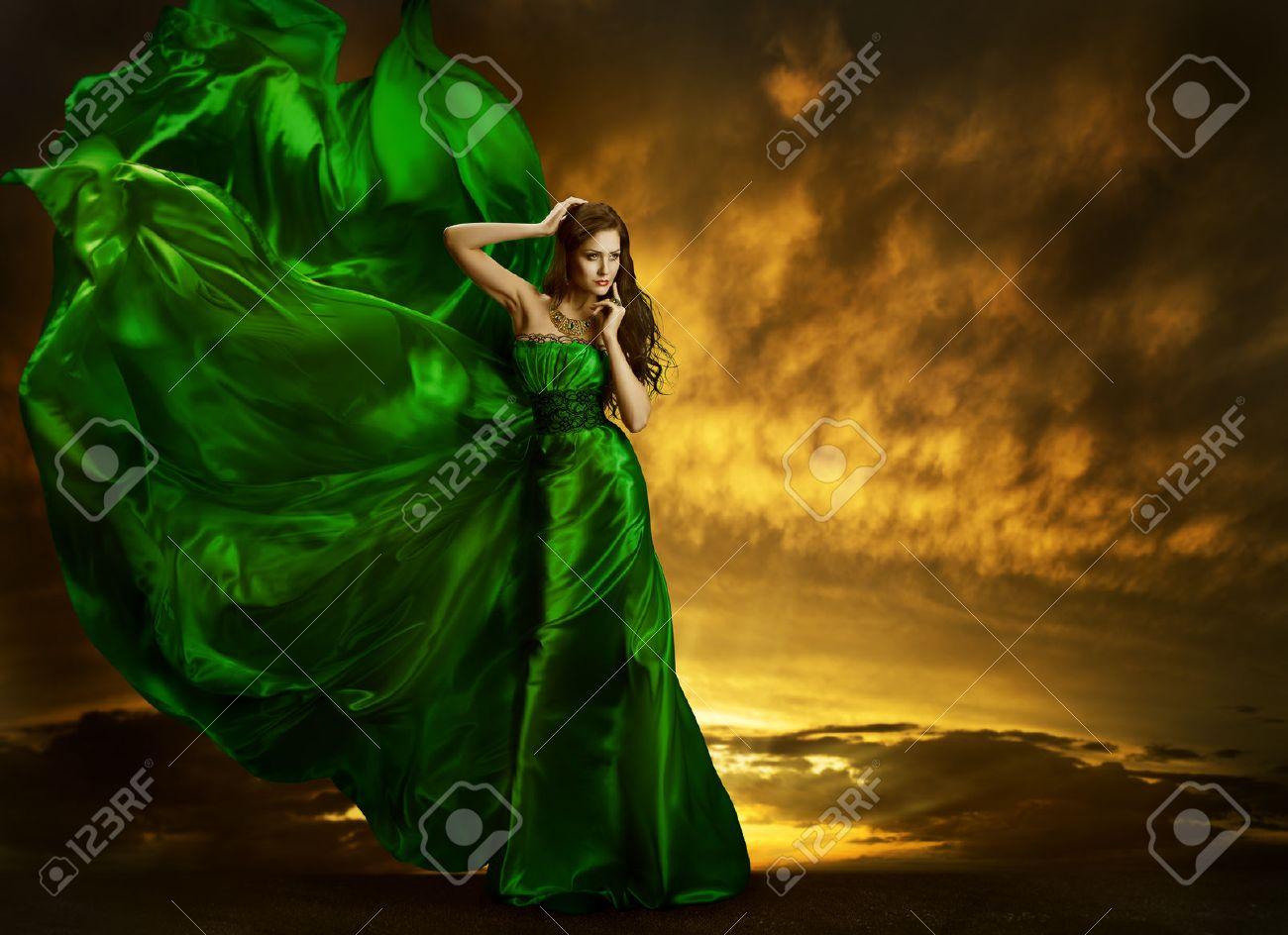 Woman Fashion Dress Fluttering On Wind Elegant Girl Portrait