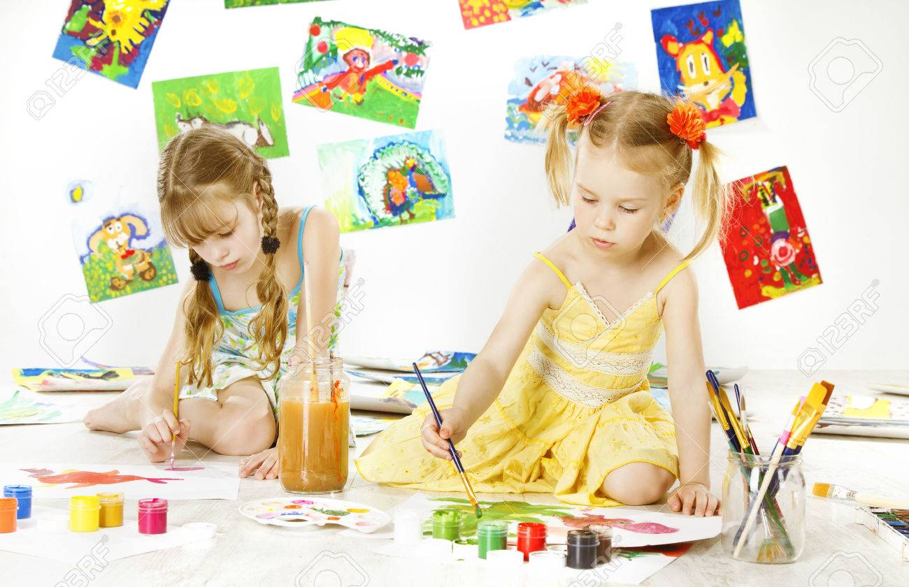 creative kids painting by brush little girls drawing image children inspiration education concept stock - Children Painting Images