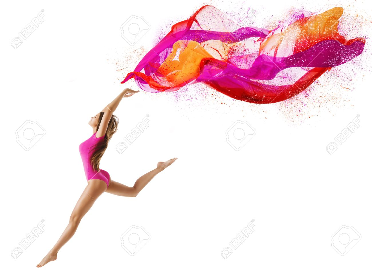 Woman Jump in Sport Leotard, Girl Dancer with Fly Pink Cloth, Slim Gymnast Posing on White background - 43006499