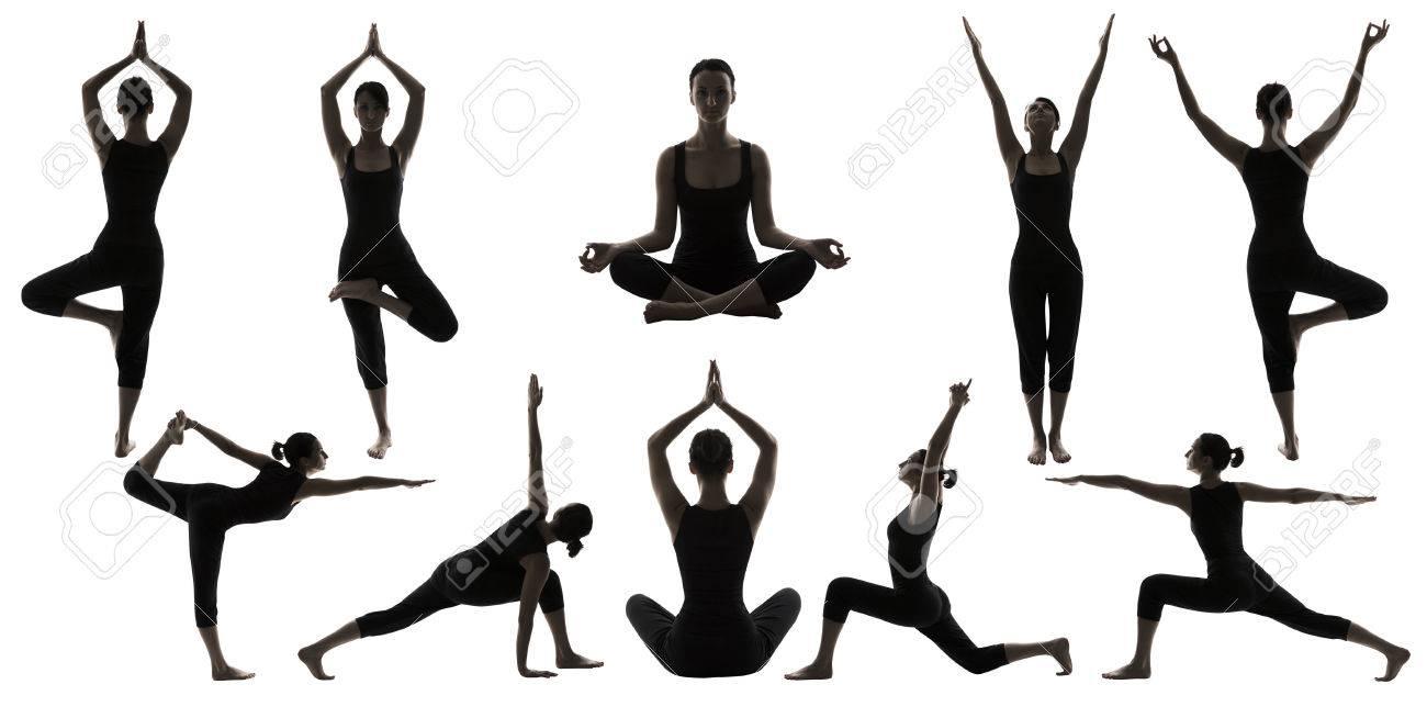 Silhouette Yoga Poses on White, Woman Asana Position Exercise,..