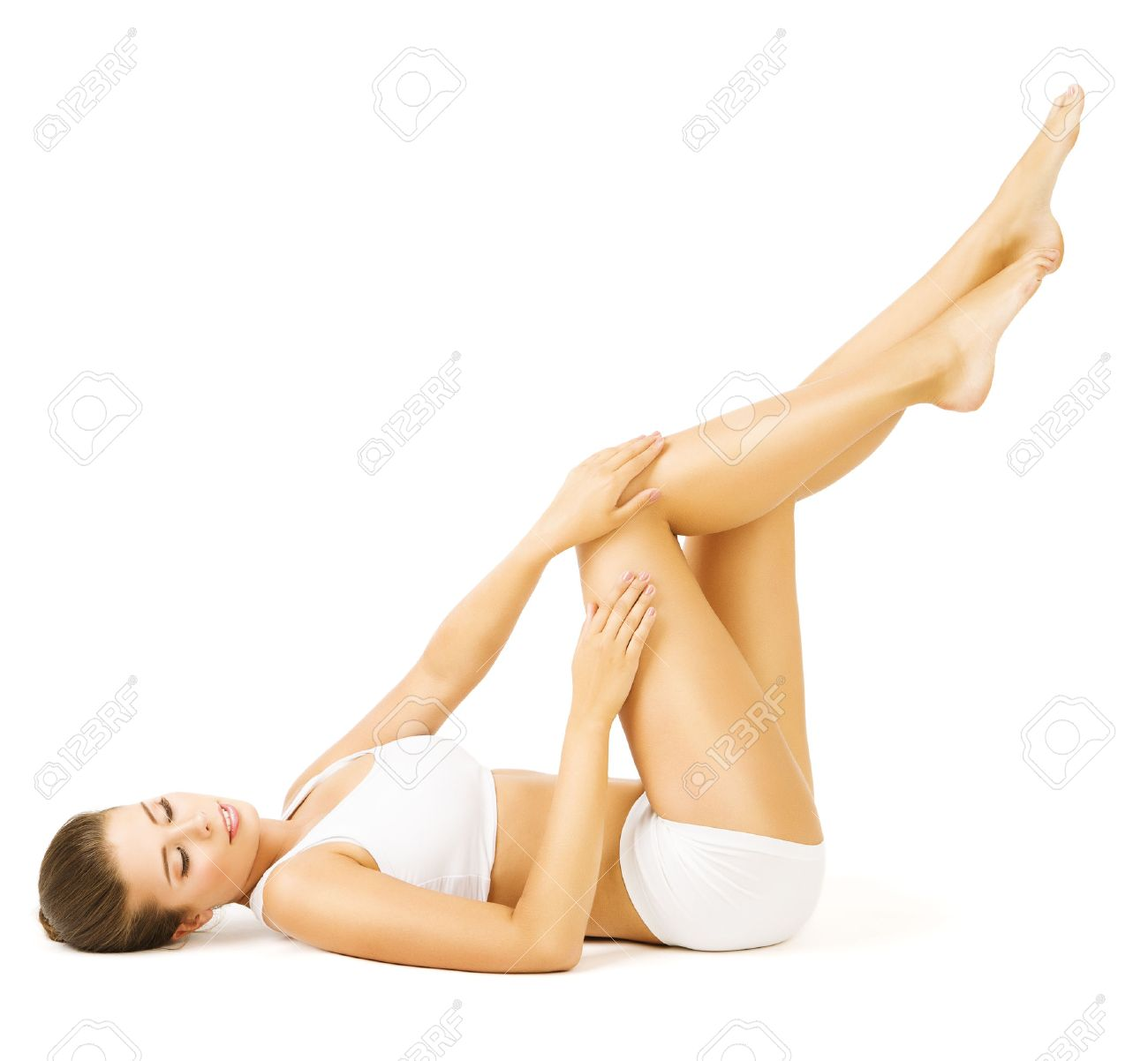 Woman Body Beauty, Lying Girl Touch Legs Skin, White Cotton Underwear Stock Photo - 43207089
