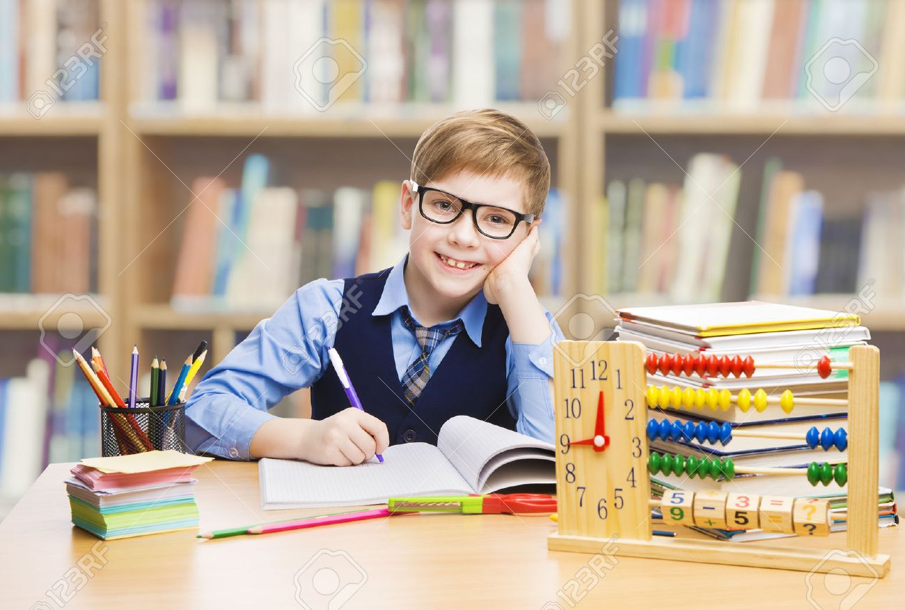 School Kid Education, Student Boy Studying Books, Little Child in Glasses, Abacus clock Stock Photo - 43377634