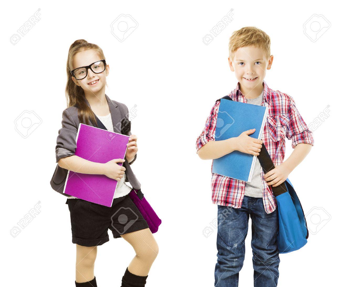 school kids group, children in uniform on white, little girl.. stock