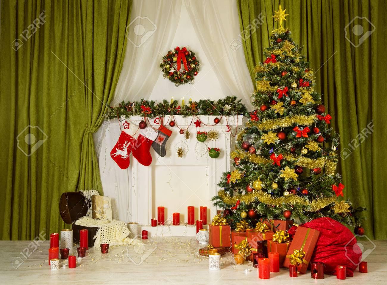 christmas room xmas tree decorated home interior hanging sock
