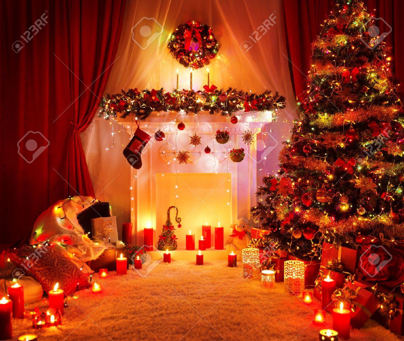 Zimmer Weihnachtsbaum Kamin Lichter Weihnachten Wohngebaude Innen