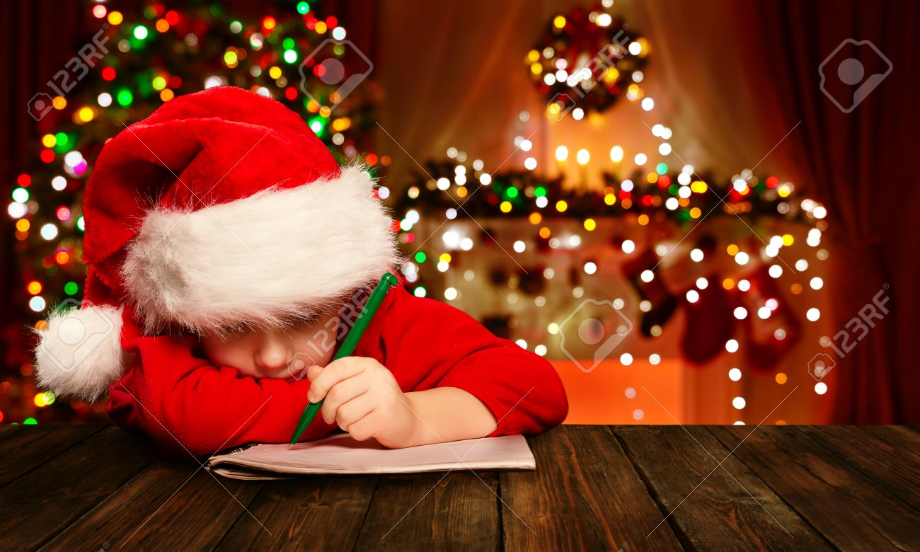 Christmas Child Write Letter To Santa Claus, Kid In Santa Hat