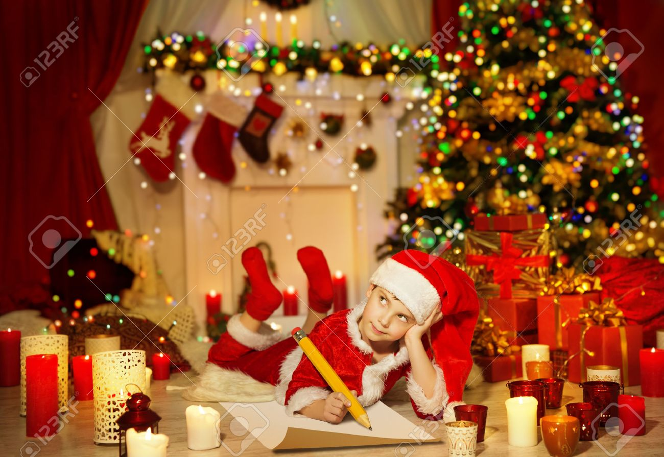 Christmas Kid Write Wish List, Child In Santa Claus Hat Writing ...