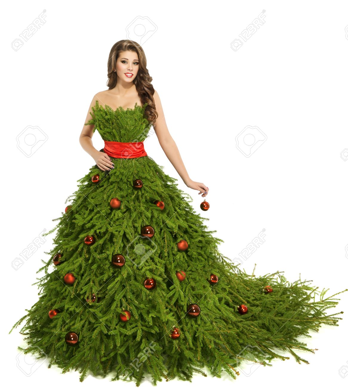 Christmas Tree Woman Dress Fashion Model Isolated On White Stock