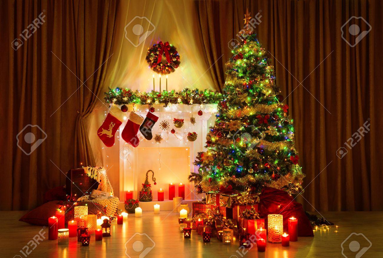 christmas tree in room xmas home night interior fireplace lights