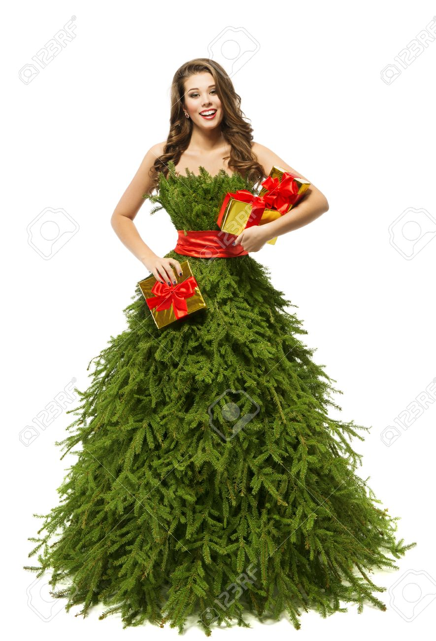 stock photo woman christmas tree dress fashion model girl and xmas present gifts green clothes on white - Xmas Present
