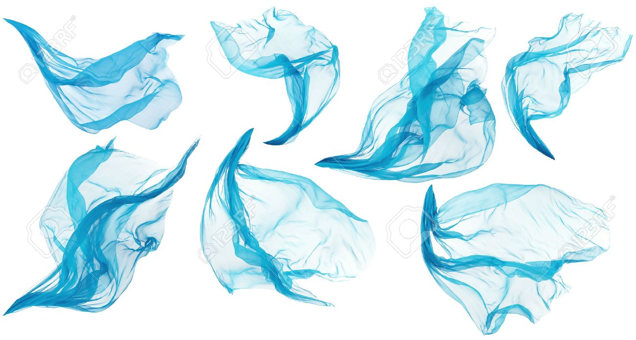 fabric cloth flowing flying cyan silk set of textile pieces stock