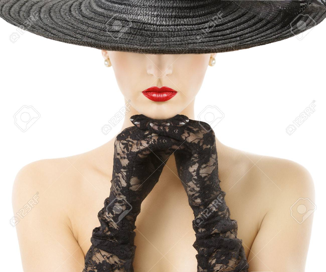 68bf9308b68 Stock Photo - Woman Gloves Wide Brim Hat Red Lips