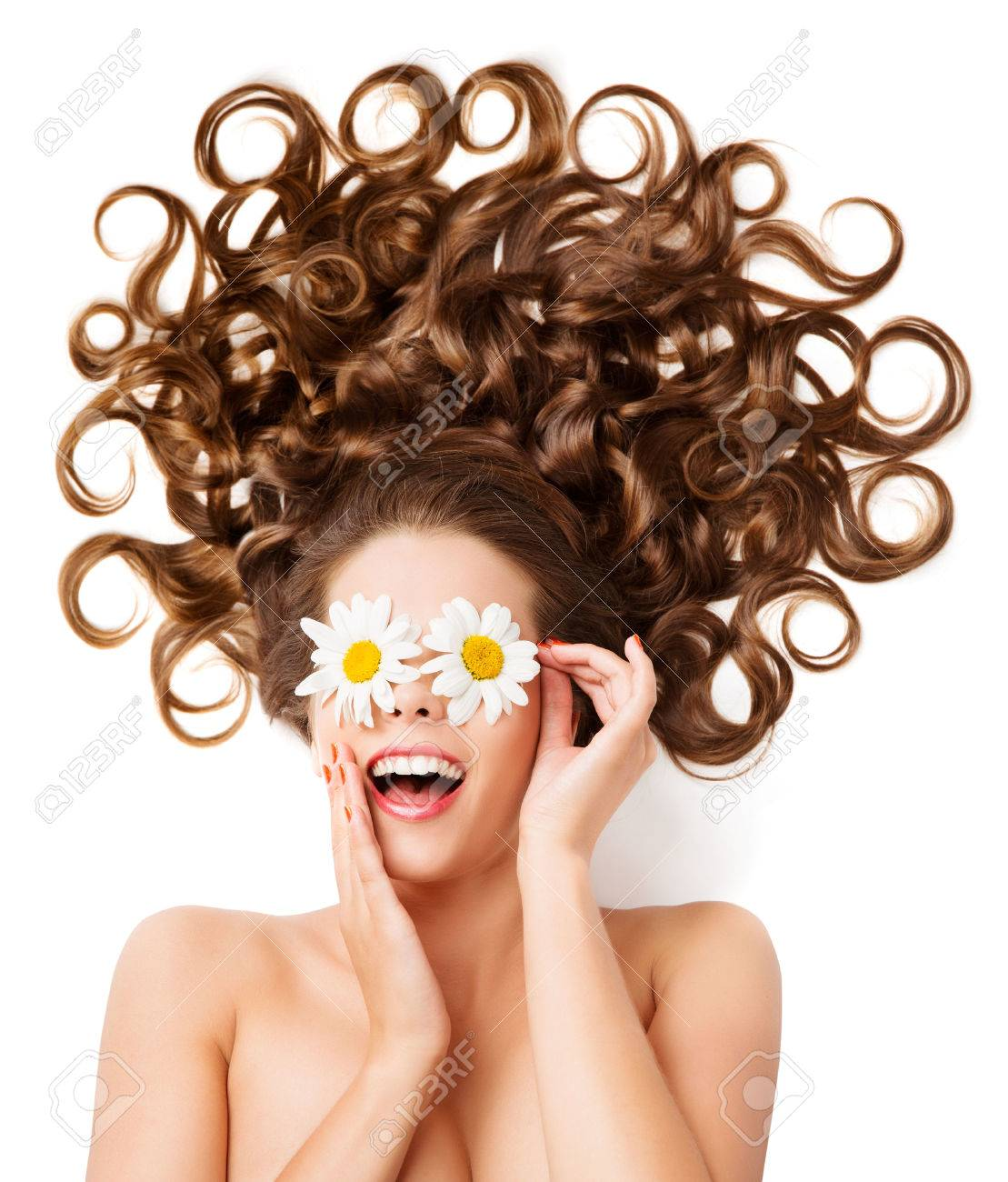 Woman Hair Curls, Girl Hairstyle, White Daisy Flowers Glasses On Eyes - 60365754