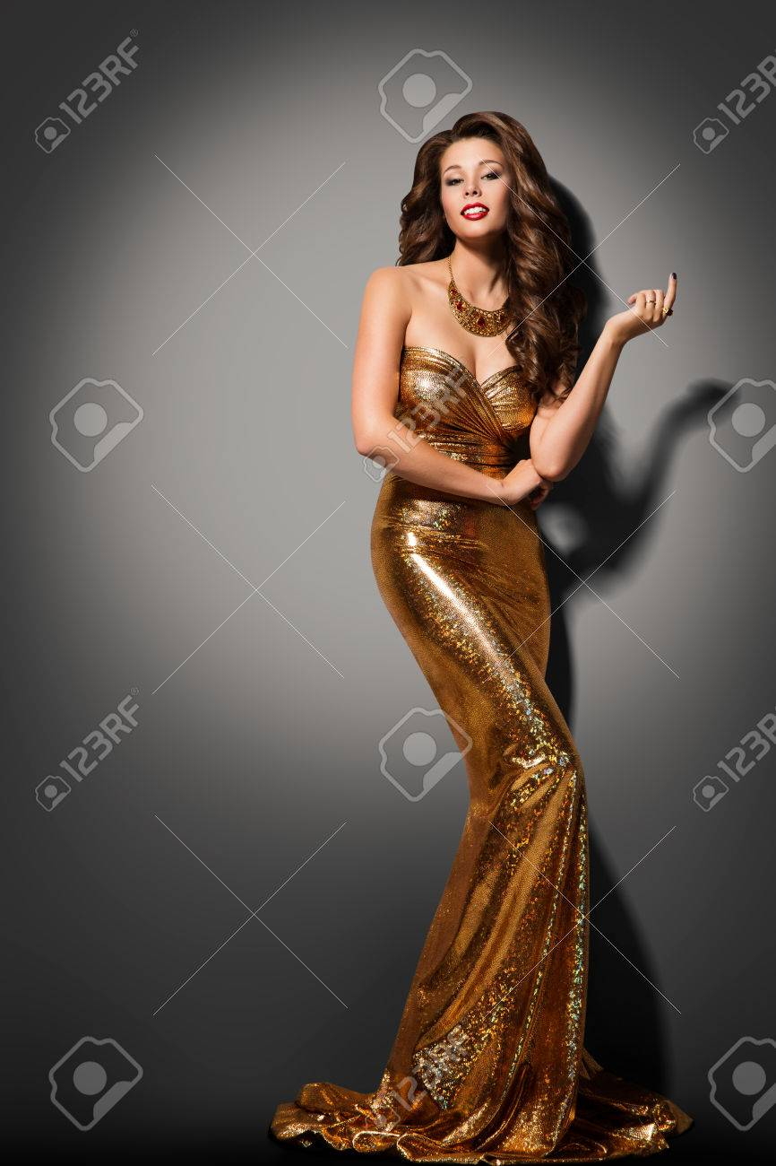 Fashion Model Girl Posing Glamour Gold Dress, Elegant Woman Golden ...