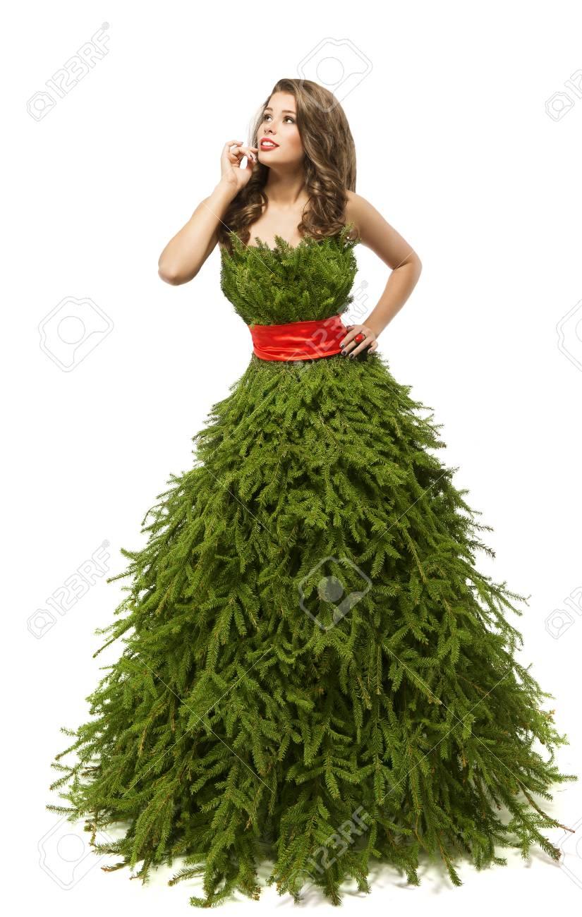 Christmas Tree Costume.Christmas Tree Woman Dress Fashion Model In Creative Xmas Gown