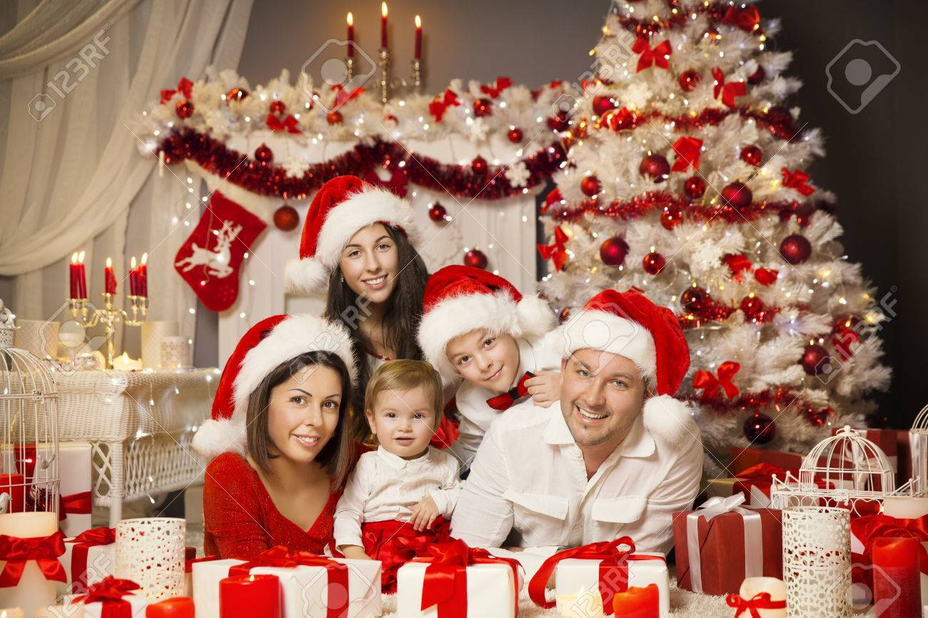 Christmas Family Portraits.Christmas Family Portrait In Room Interior Xmas Tree Presents