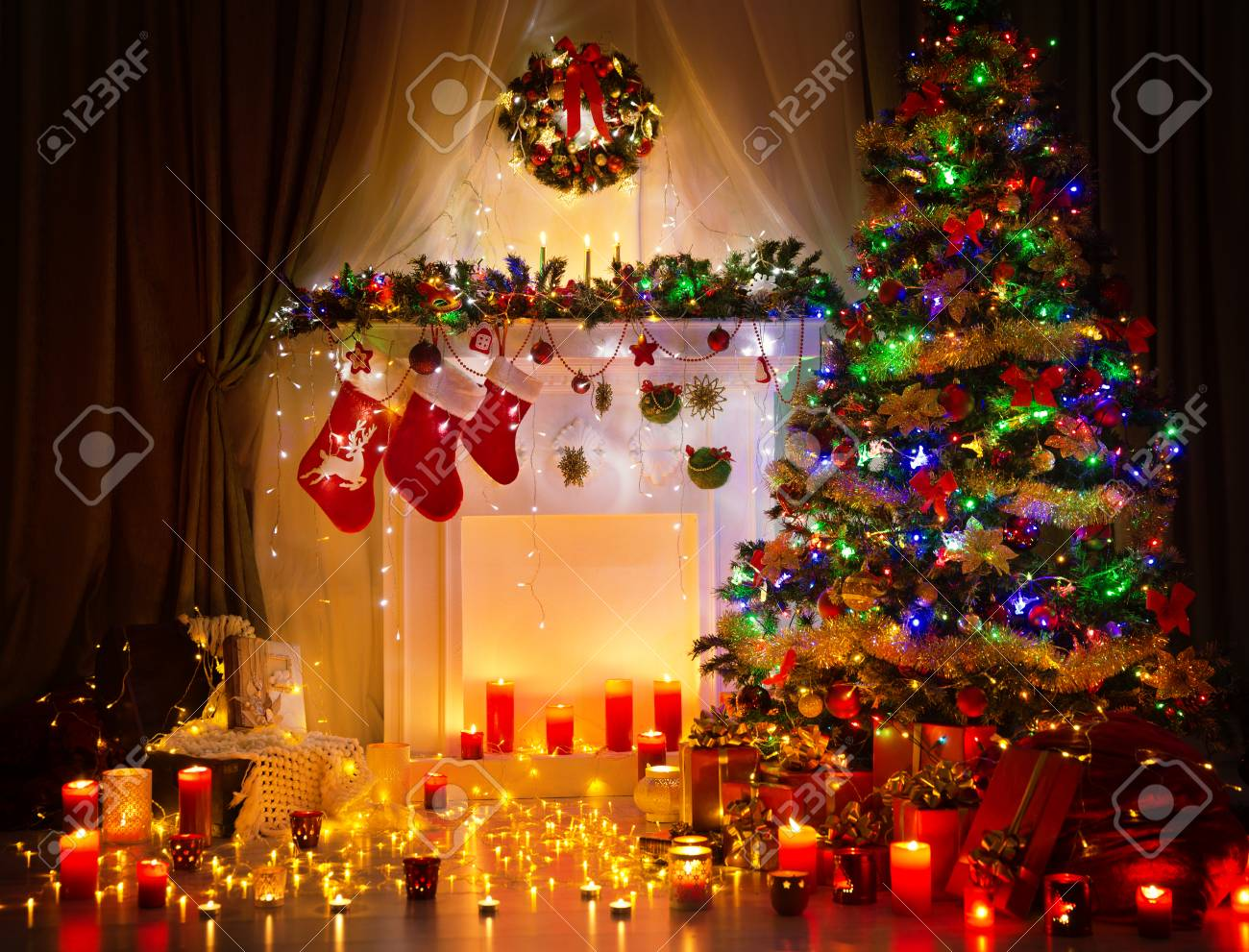 Christmas Tree Night Room Interior Home Decoration Lights On Stock Photo Picture And Royalty Free Image Image 64012714