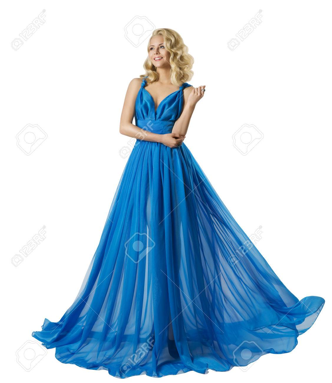 Woman Fashion Long Prom Dress, Elegant Girl In Ball Gown, Blue ...