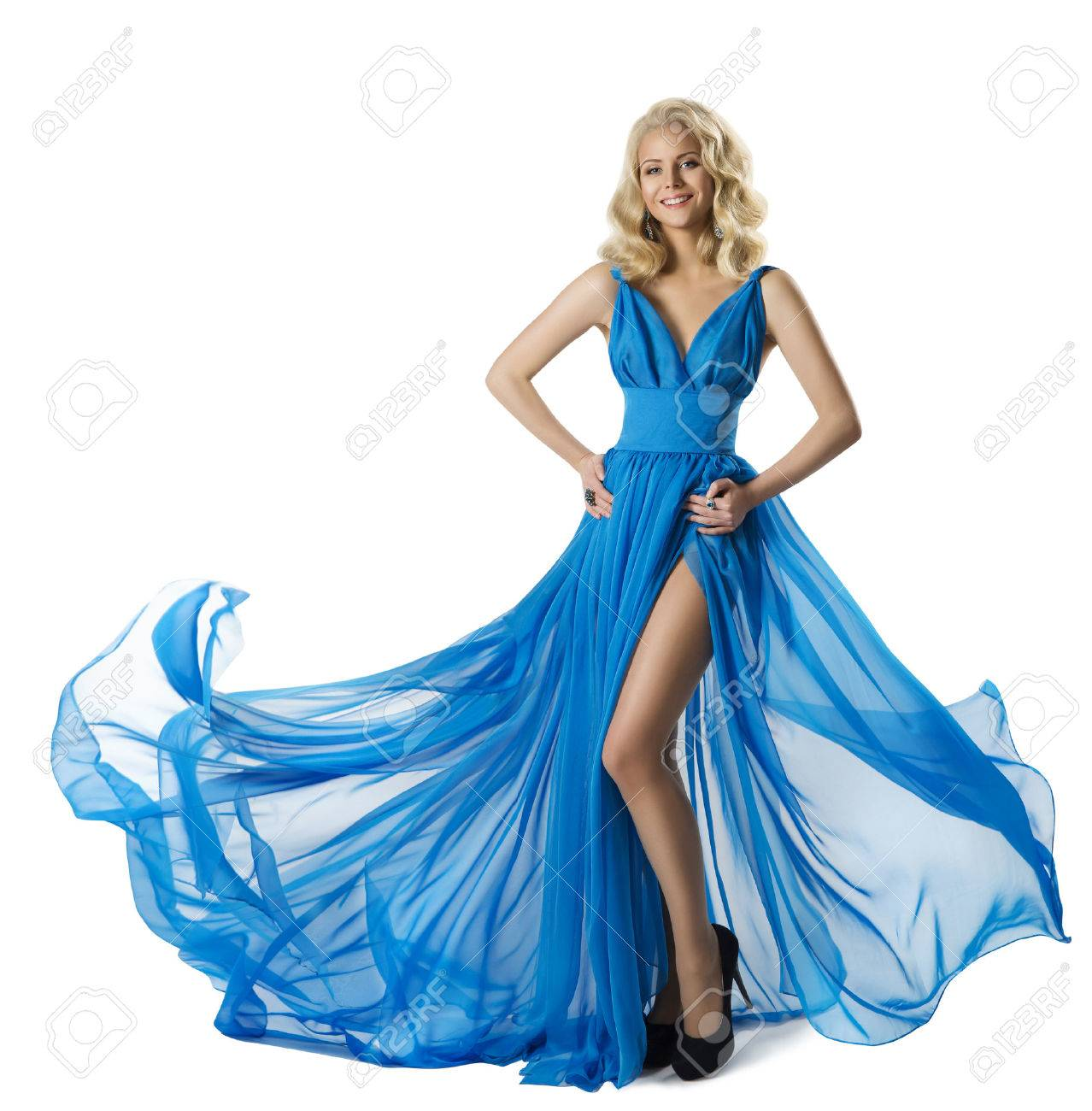 63d98a4ff2ea44 Stockfoto - Vrouw Fashion Blue Dress