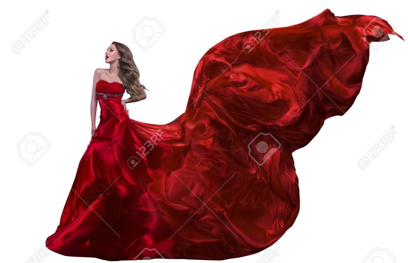 Frau Mode Rotes Kleid, Kleid Winken Auf Wind, Mädchen Mit Fliegen ...