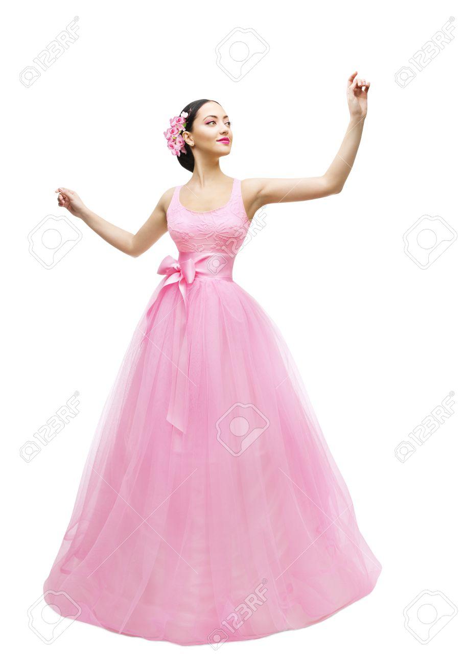 Vestido De La Manera Modelo De La Bola, La Mujer En Vestido Largo ...