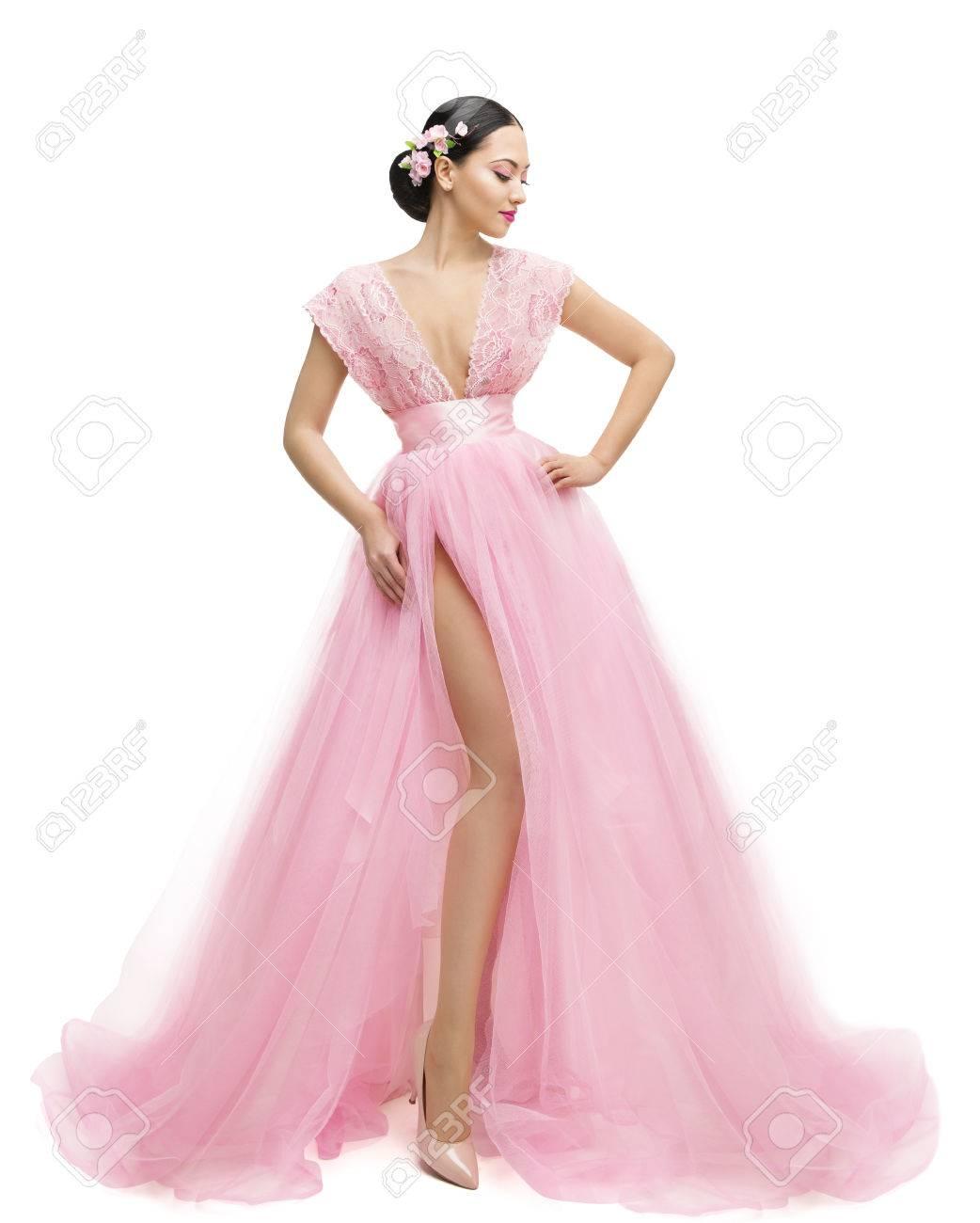Vestido De La Manera Modelo, Mujer En Largas Ropa Rosada, Muchacha ...
