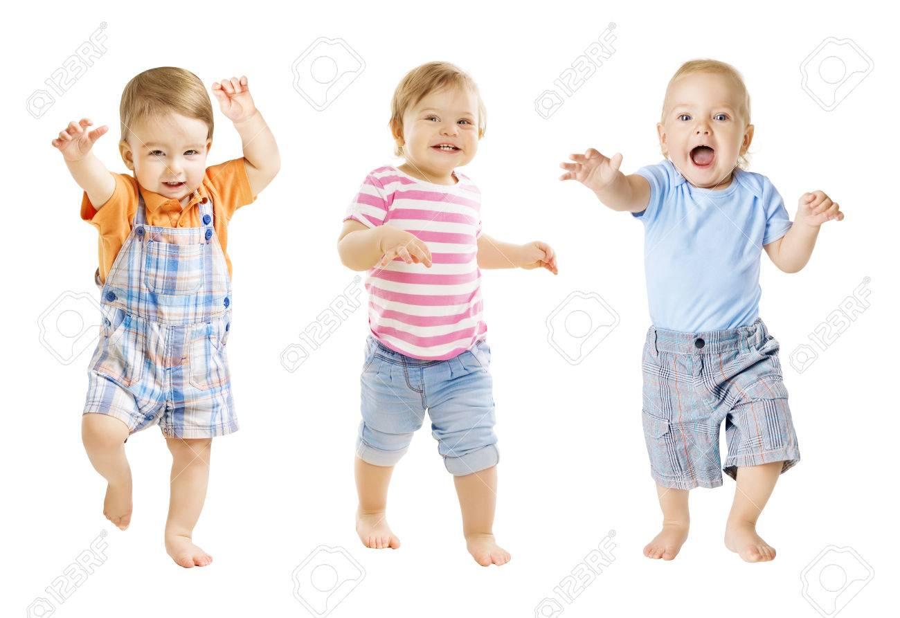 Baby Go, Funny Kids Expression, Playing Babies Isolated over White Background, one year old children - 77993969