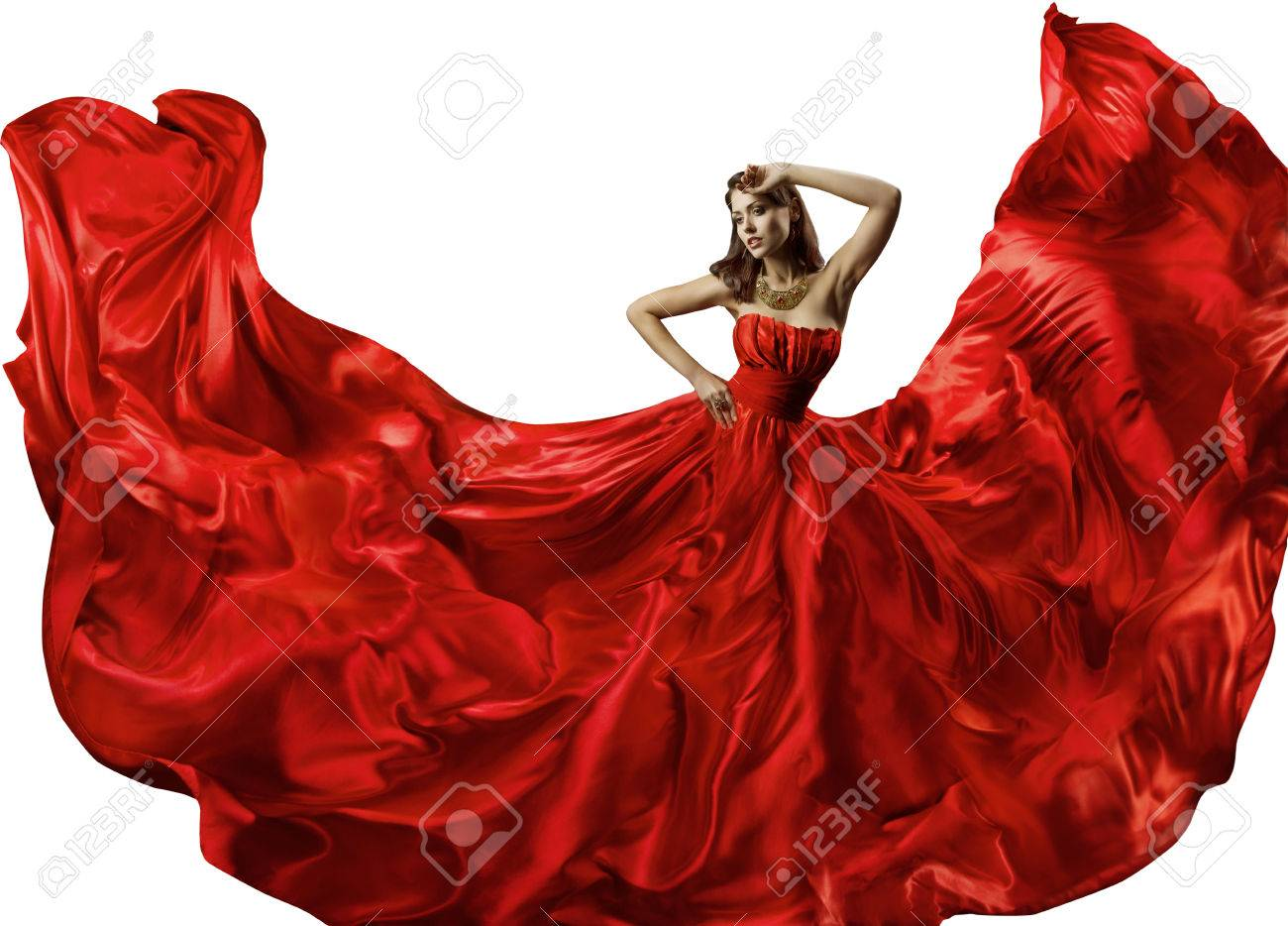 9d23958c4fdd Dancing Woman in Red Dress, Fashion Model Dance in Silk Ball Gown, Waving  Flowing