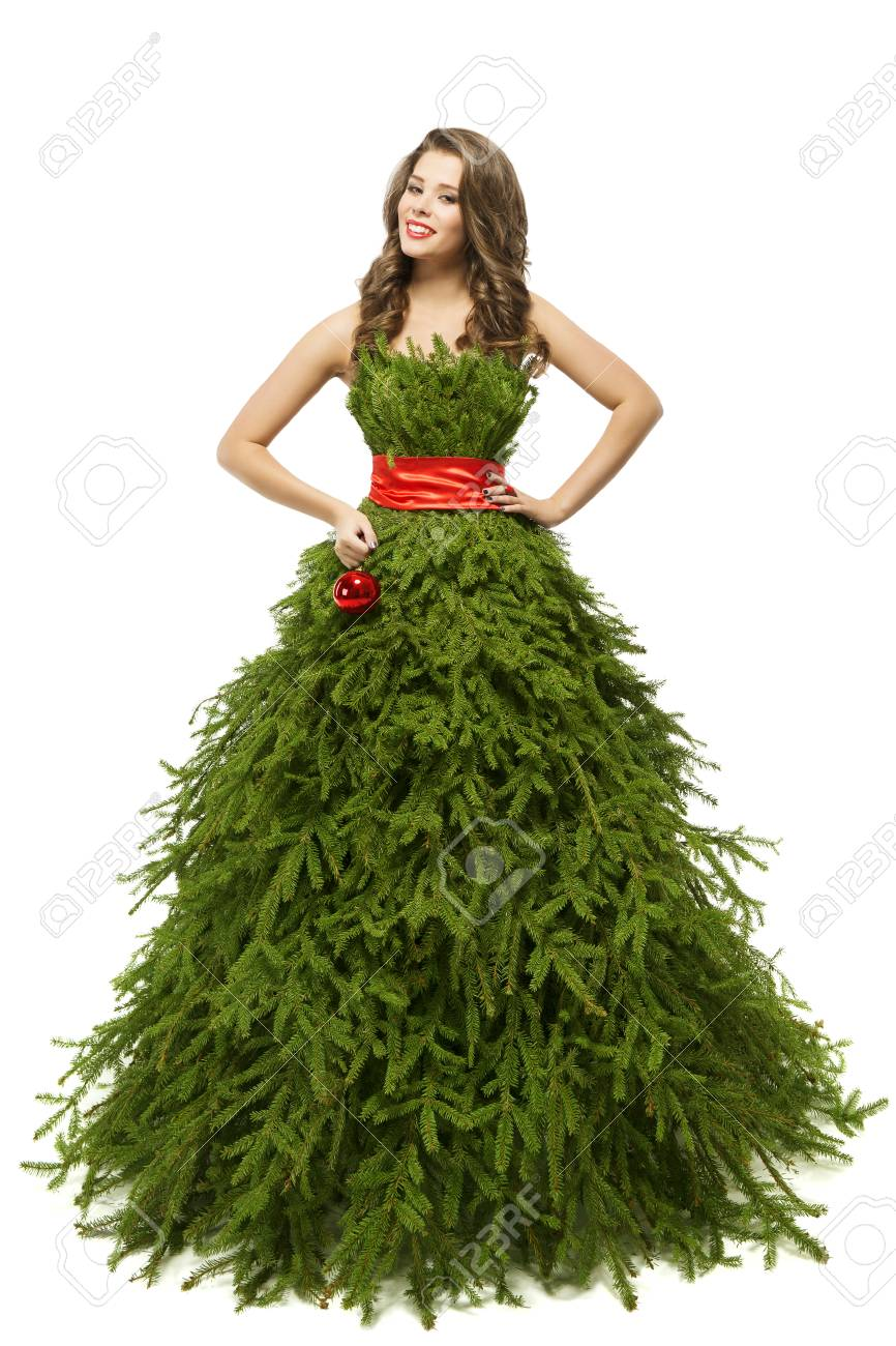 O, brad frumos  88894778-woman-christmas-tree-dress-fashion-model-in-xmas-gown-isolated-over-white-background