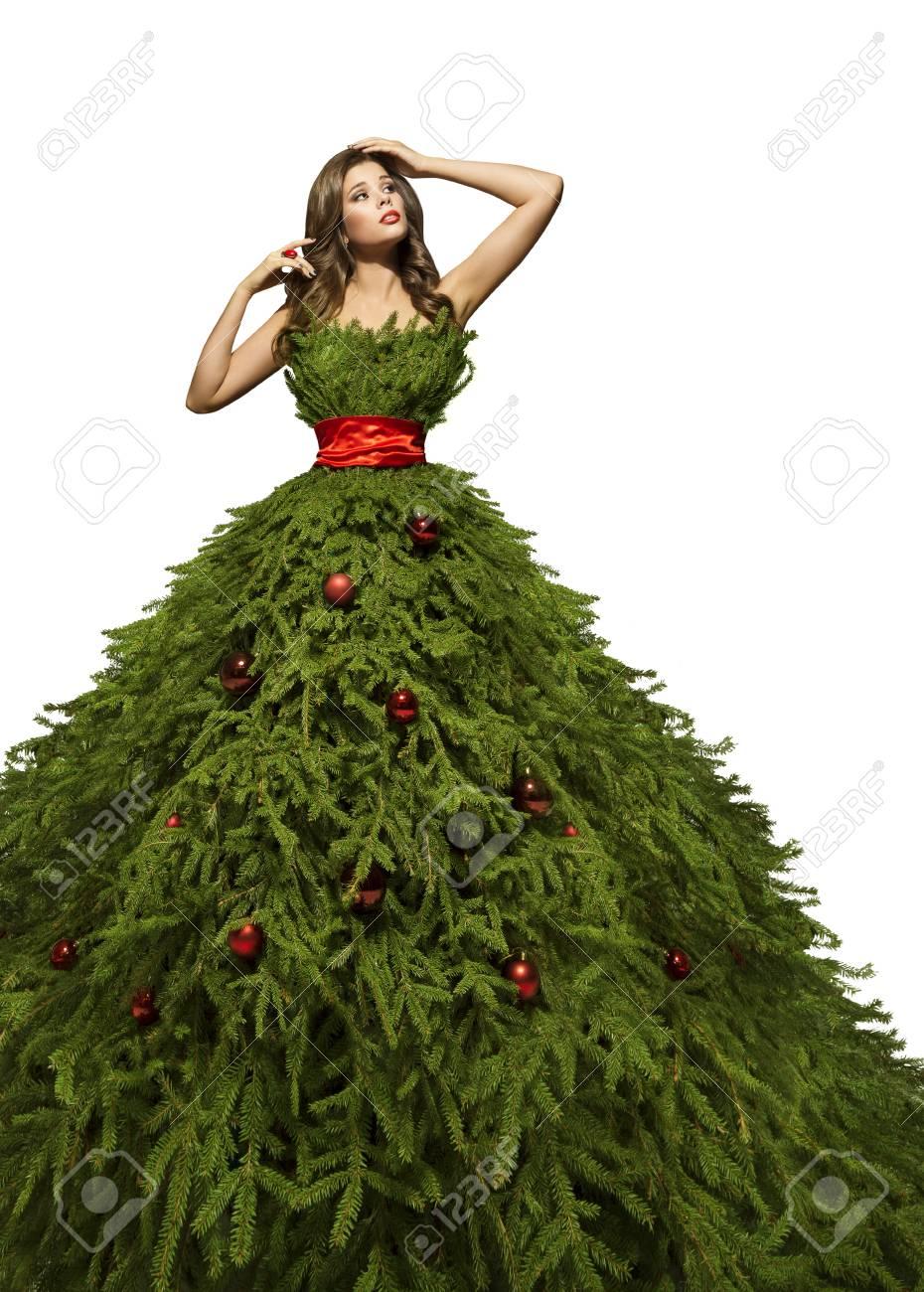 Christmas Tree Dress Woman Posing In Xmas Fashion Model Gown