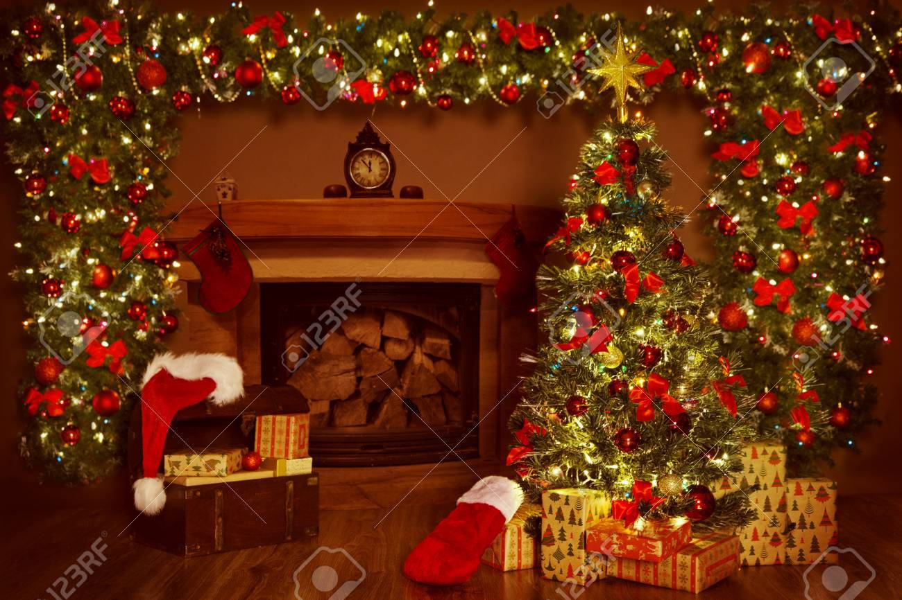 Christmas Fireplace And Xmas Tree Presents Gifts Decorations