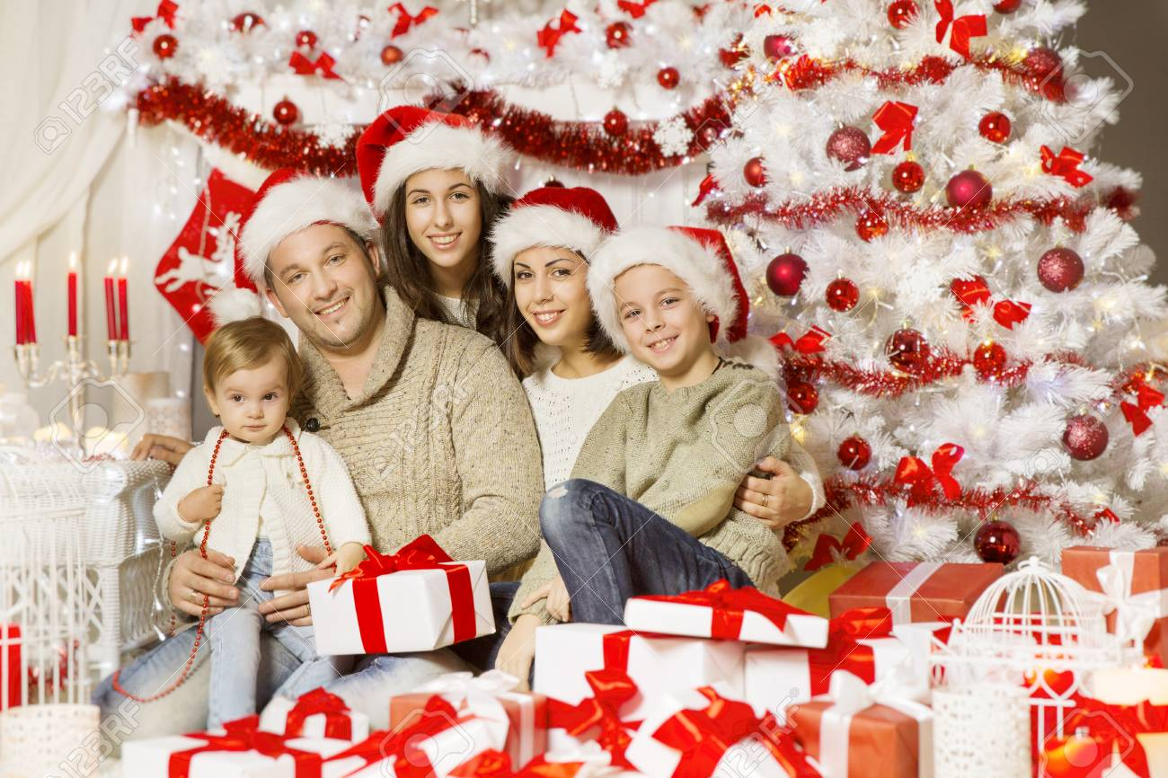 Christmas Family Portraits.Christmas Family Portrait Happy Father Mother Teenager Child