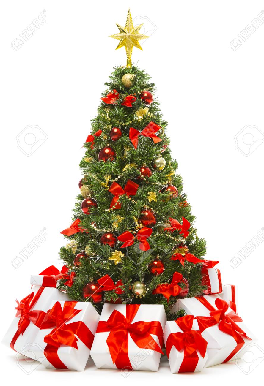 Christmas Tree White Background.Christmas Tree Decoration With Present Gift Boxes Decorated
